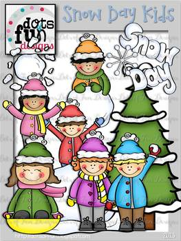 Clip Art: Snow Day Kids ~Dots of Fun Designs~
