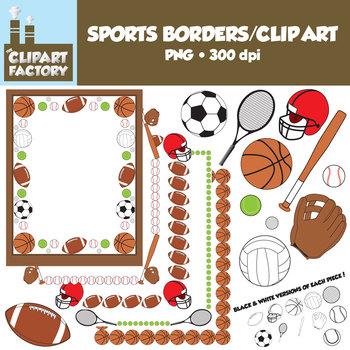 Clip Art: Sports Borders Clip Art - Borders and assorted s