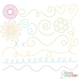 Borders - Stitched Doodle Flourishes Clipart FREEBIE