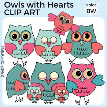Valentine Owls Clipart, Heart Tree Clip Art