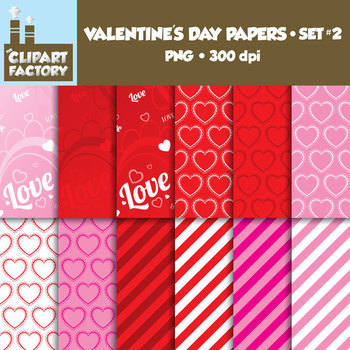 Clip Art: Valentine's Day Backgrounds Set 2 - 12 Digital Papers