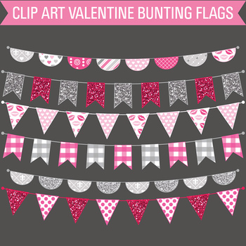 Clipart - Valentine's Day Bunting Flags