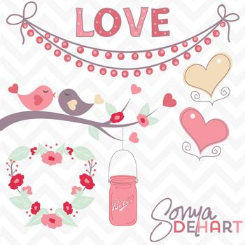 Clipart - Valentine's Day Love Birds Mason Jar and Hearts