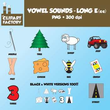 Clip Art: Vowel Sounds Long E(ee)-Images for words with lo
