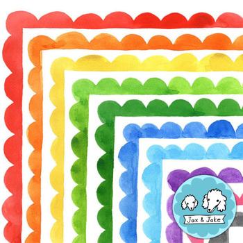 Clip Art: Watercolor Scallop Borders Personal and Commerci