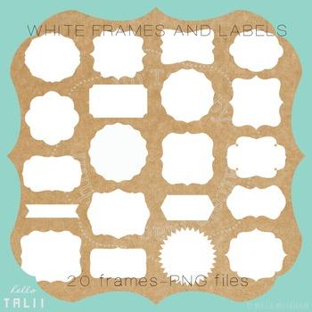 Clip Art: White Digital Labels and Frames