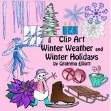 Winter Clip Art - Color and Black Line