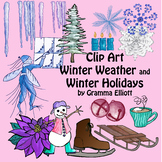 Winter Clip Art - Color and Black Line