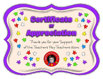 Clip Art and Resources Store Support Certificate ~ Inspire