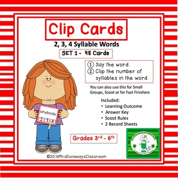 Clip Cards: 2, 3, & 4 Syllable Words (Set 1)