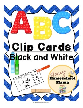 Clip Cards - ABC Alphabet Clip Cards in Black and White -