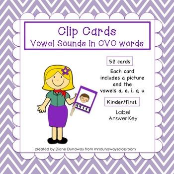 Clip Cards: CVC Vowel Sounds