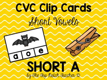 Clip Cards CVC Words Short Vowel Short A