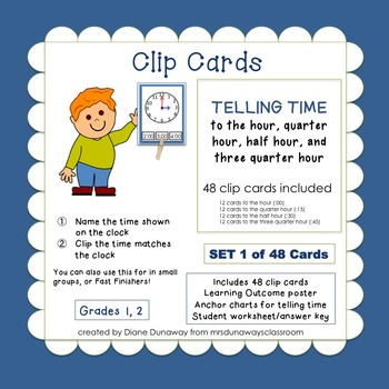 Clip Cards: Telling Time (:00, :15, :30, :45)