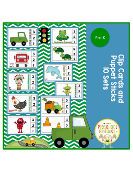 Clip Cards and Puppet Sticks (10 Sets!)