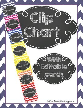 Clip Chart Behavior Management Primary Chevron and Chalk (