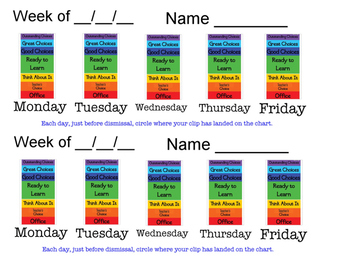 Clip Chart:  Weekly Log