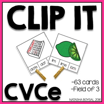 Clip It CVCe (clothespin activity)