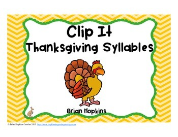 Clip It Thanksgiving Syllables