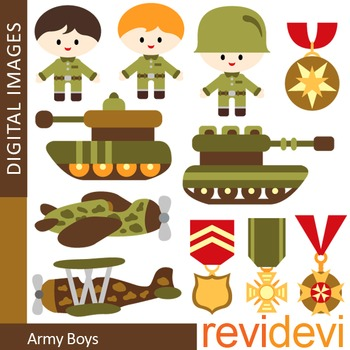Clip art Army boys (soldier, military, tank, emblem, plane