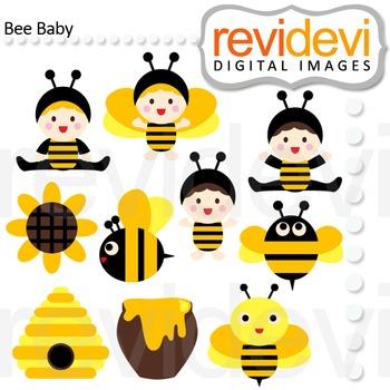 Clip art Bee Baby (black, yellow, bumblebee) clipart for teachers