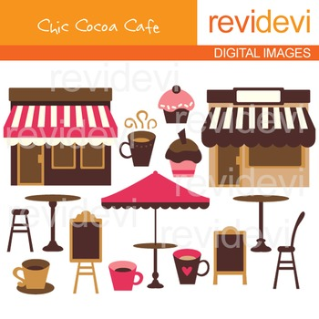 Clip art Chic Cocoa Cafe 07189 (pink, brown, coffee house)