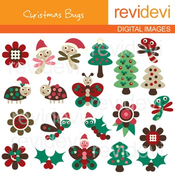Clip art Christmas Bugs (trees, ladybugs, butterflies) cli