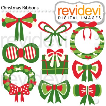 Clip art Christmas Ribbons (red, green) clipart for teache