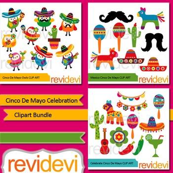 Clip art Cinco De Mayo Celebration Bundle (3 packs)