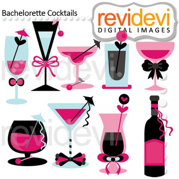Clip art Cocktails black pink turquoise (diva night, bache