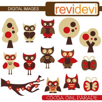 Clip art Cocoa Owl Parade (red, brown, trees) clipart