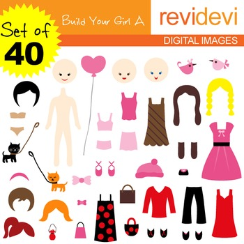 Clip art: DIY paper doll, build your girl (40 graphics)