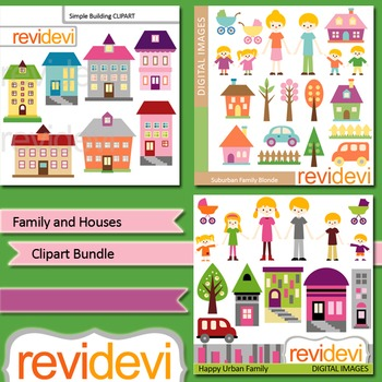 Clip art Family and Houses Bundle (3 packs)