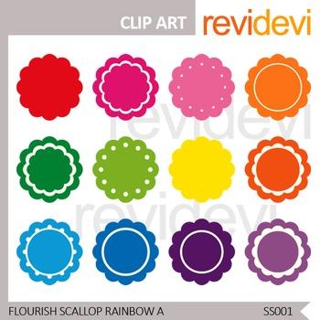 Clip art Flourish Scallop Rainbow Label - Set of 12 - Comm