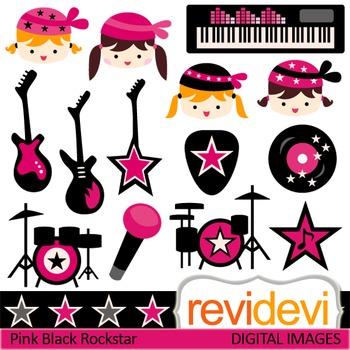 Clip art Girl Rockstar Pink Black (music class, guitar, dr