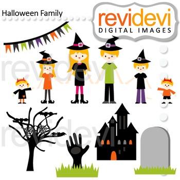 Clip art Halloween Family (parents, kids, mom, dad, brothe