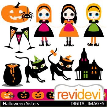 Clip art Halloween Sisters (girls, black cats, haunted hou