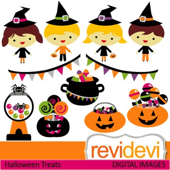 Clip art Halloween Treats (kids with witch hats, candy, pu