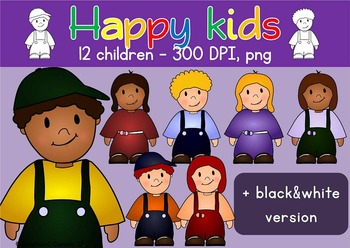 Clip art Happy Kids - School Children Clipart - Commercial Use
