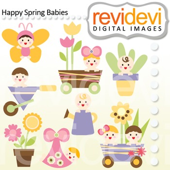 Clip art Happy Spring Babies 07449 (cute baby, flowers, garden)