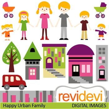 Clip art Happy Urban Family (mom, dad, brothers, sisters)