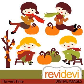 Clip art Harvest Time 07425 (boys, girls, pumpkin) fall, a