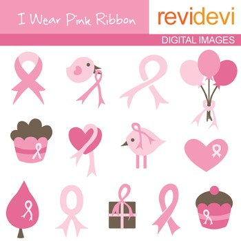 Clip art I Wear Pink Ribbon (graphic cliparts) 07040, Brea