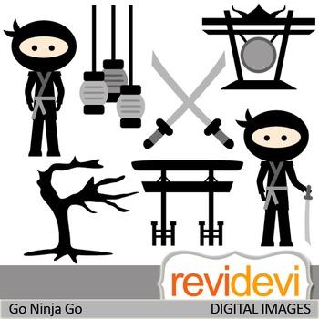 Clip art Japanese Black Ninja (clipart for commercial use