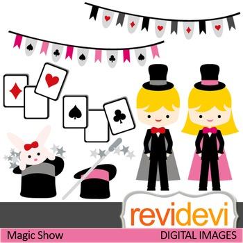 Clip art Magic Show 07406 (magician, girl, boy, play cards