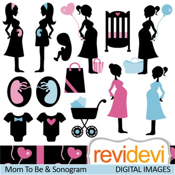 Clip art Mom To Be and Sonogram (silhouette pregant woman)