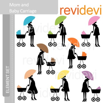 Clip art Mom and Baby Carriage ( pregnancy, maternity) E074
