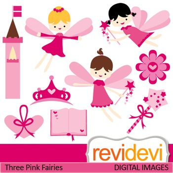 Clip art Pink Flying Fairies (fantasy, girls, magic wand,