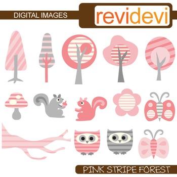 Clip art: Pink Grey Stripe Forest (owls, trees, squirrels,