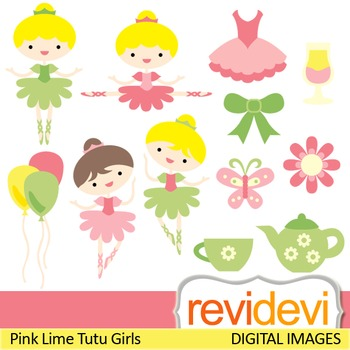 Clip art Pink Lime Tutu Girls 07321 (ballerina, tea party,